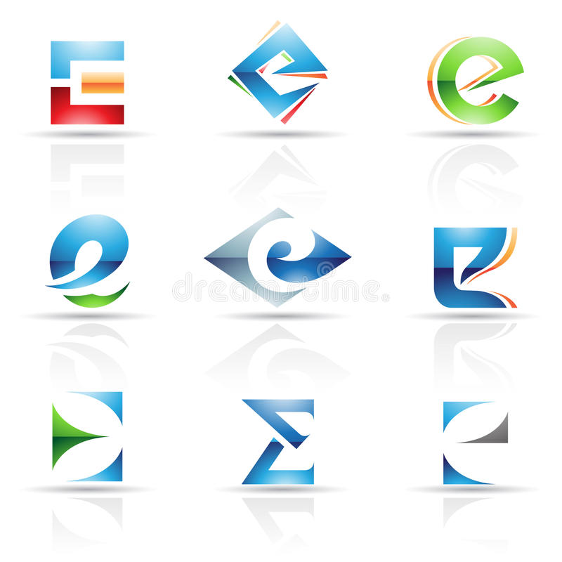 Free Glossy Icons For Letter E Stock Photos - 24434583