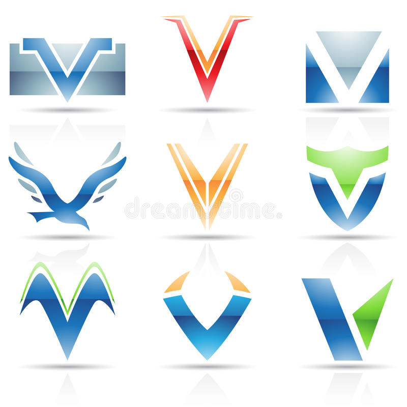 Download Glossy Icons for letter V stock vector. Illustration of corporate - 34199006