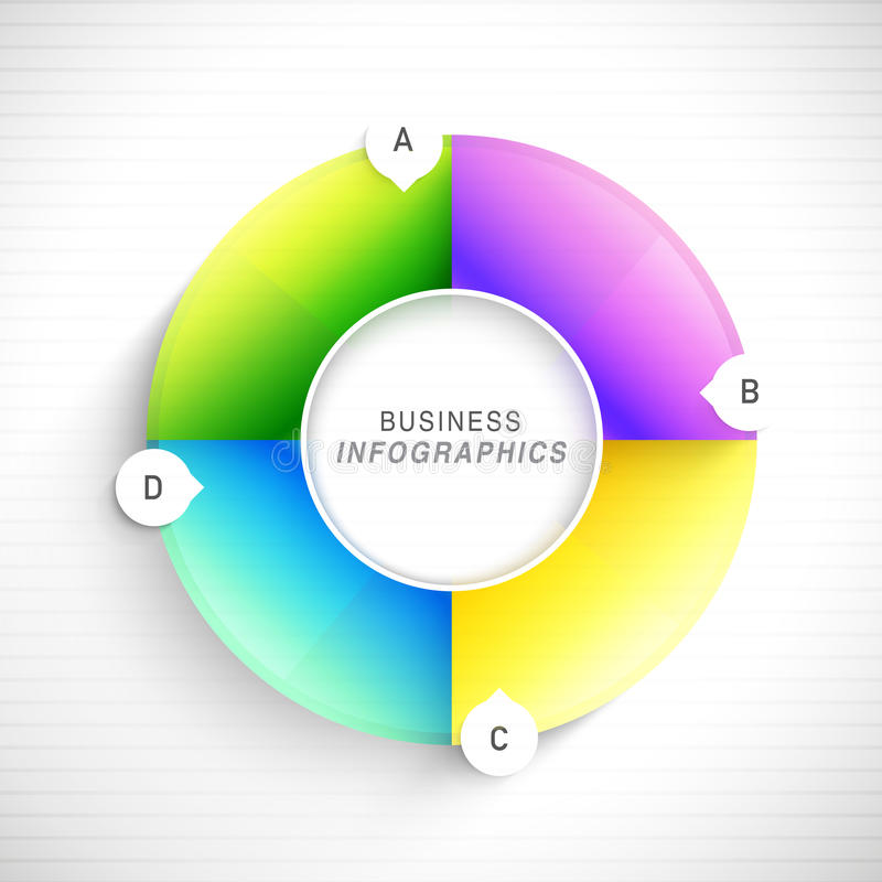Glossy infographic element for Business. Glossy colorful infographic circle on shiny background for Business purpose stock illustration