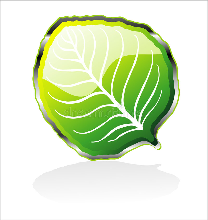 Glossy Leaf Icon royalty free stock photography