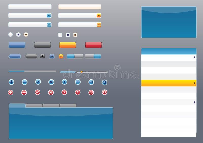 Glossy Mac, Vista, iPhone style GUI/UI Elements royalty free illustration