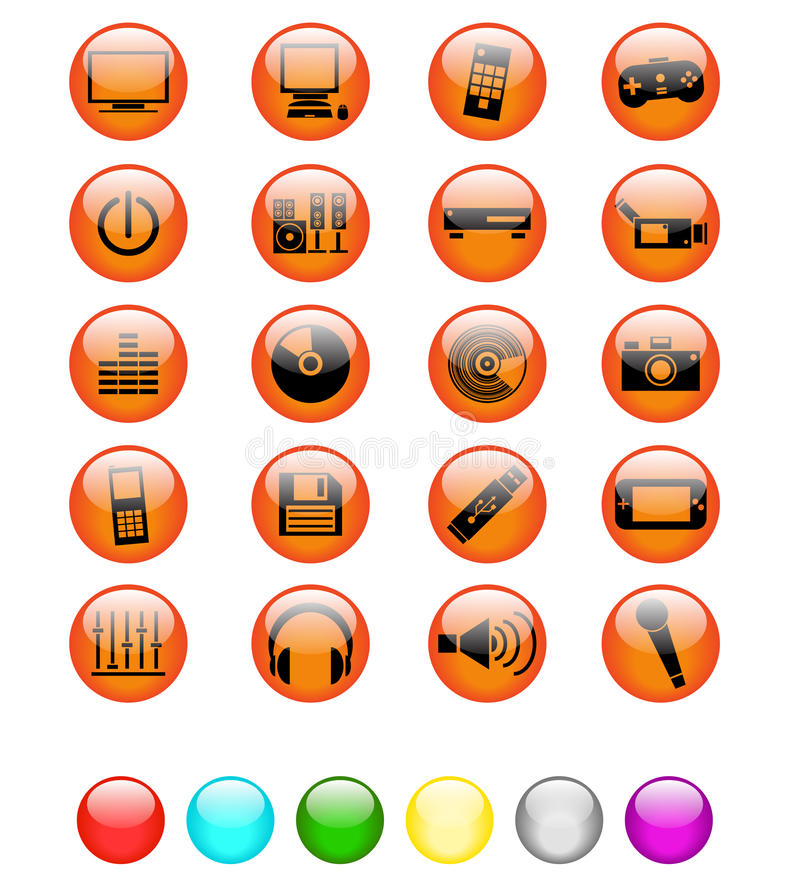 Download Glossy Media And Entertainment Icons Stock Vector - Illustration: 16795674