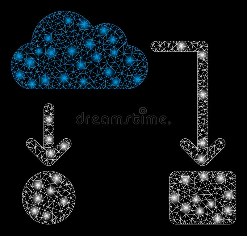 Glossy Mesh Network Cloud Flow Chart with Flare Spots. Glossy mesh cloud flow chart with glow effect. Abstract illuminated model of cloud flow chart icon. Shiny stock illustration