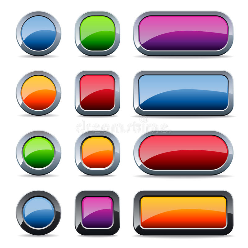 Glossy metal buttons stock illustration
