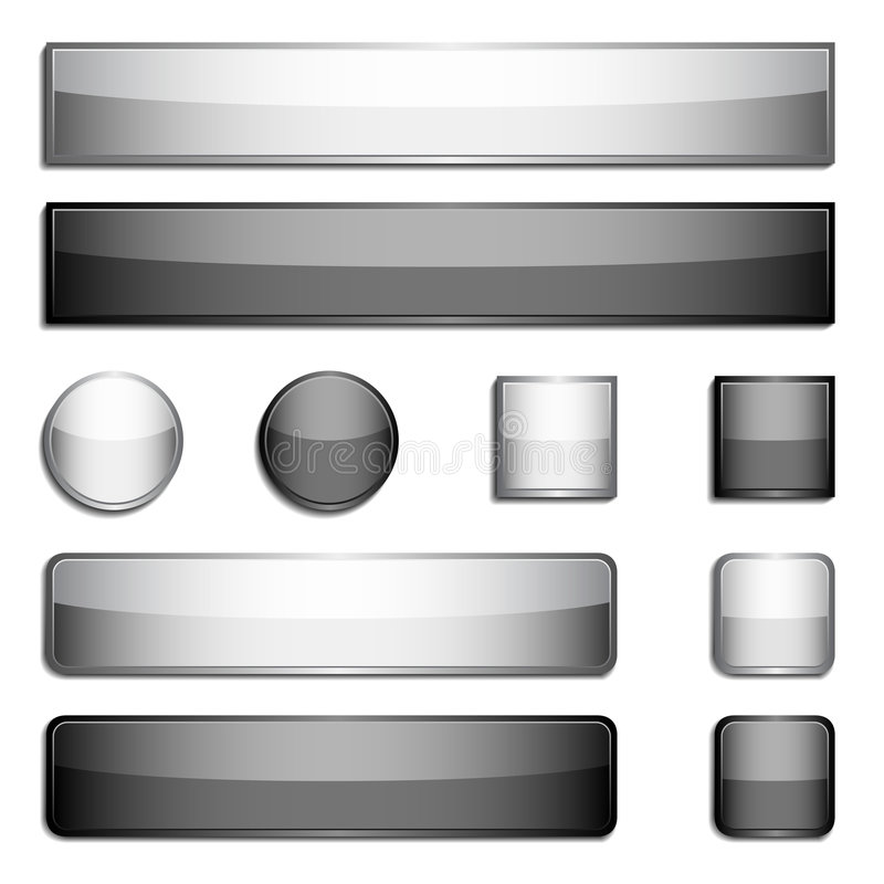 Glossy Metal Buttons Stock Images