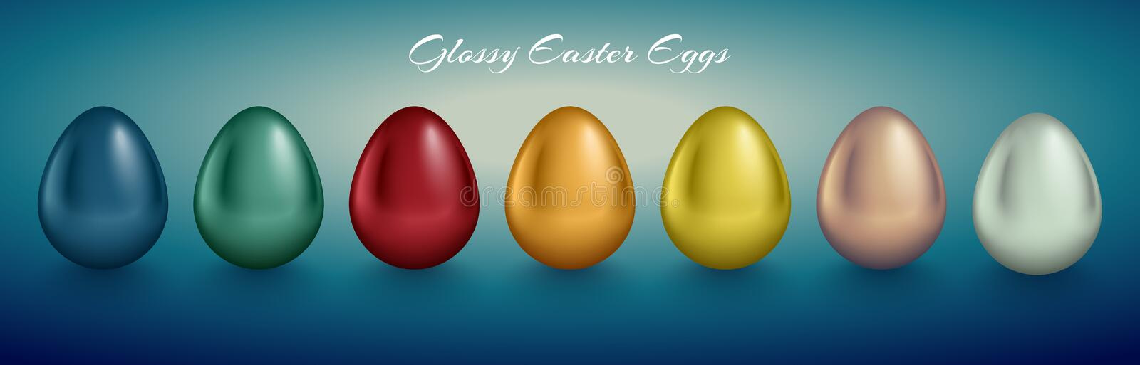 Glossy metallic egg set. Different color reflect paint. Turquoise deep background stock illustration