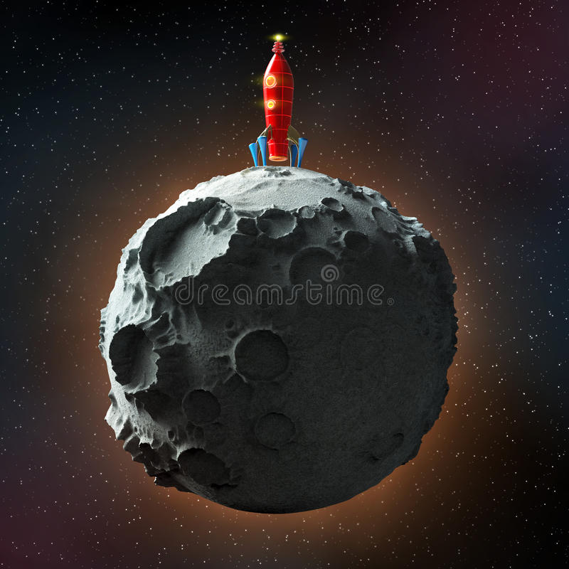Glossy metallic vintage rocket landed on surface of the moon. space with stars background. high quality render stock illustration