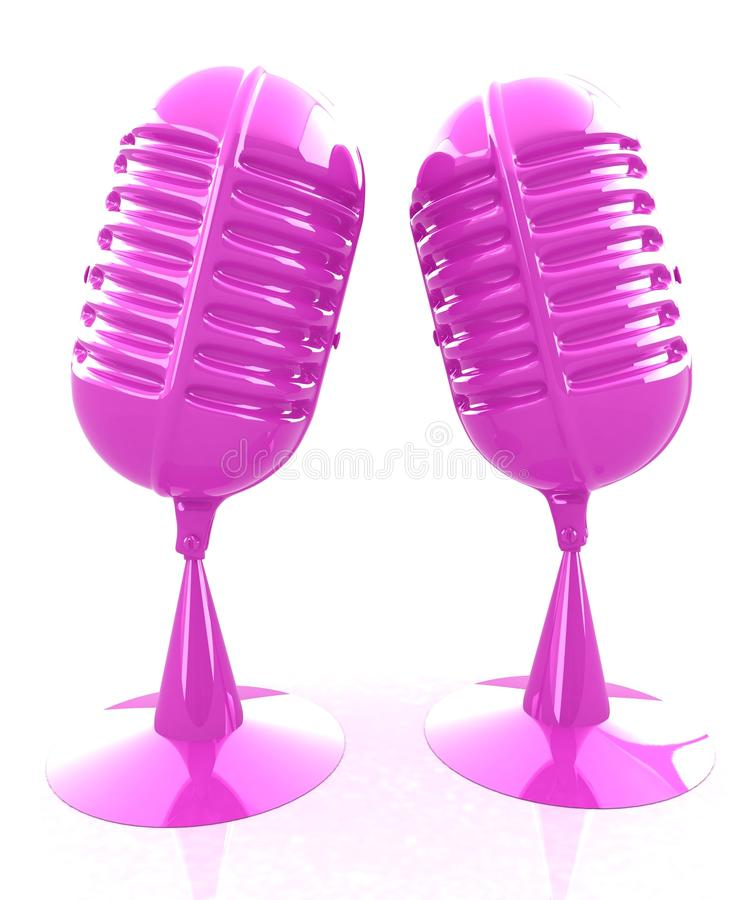 Glossy microphones. On a white background vector illustration