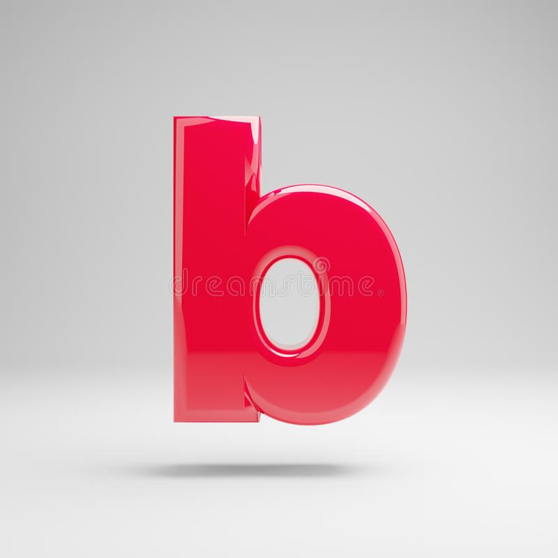 Glossy neon pink lowercase letter B isolated on white background stock illustration