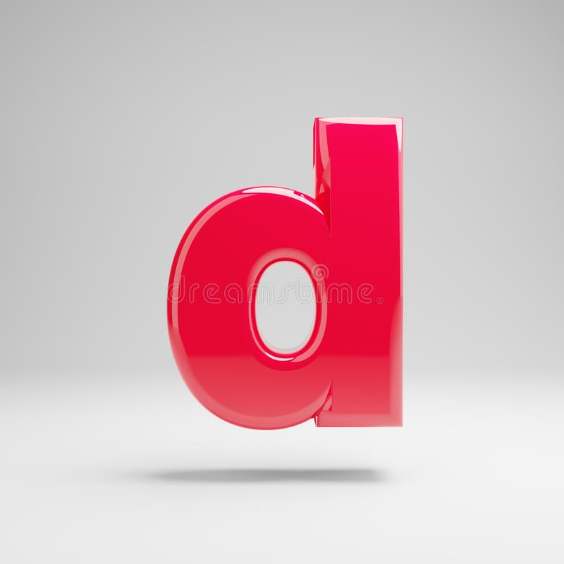 Glossy neon pink lowercase letter D isolated on white background royalty free illustration
