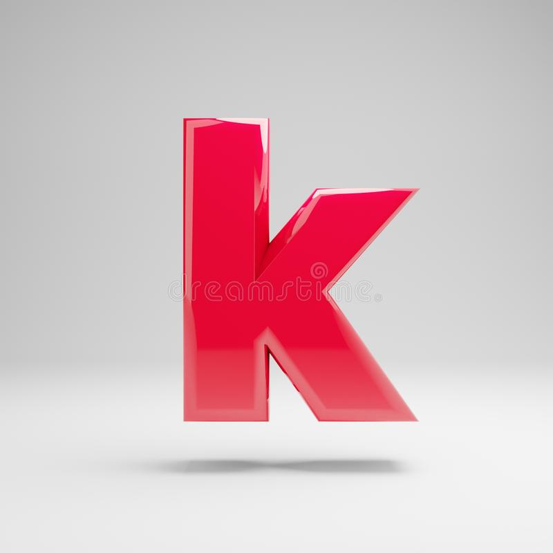Glossy neon pink lowercase letter K isolated on white background royalty free illustration