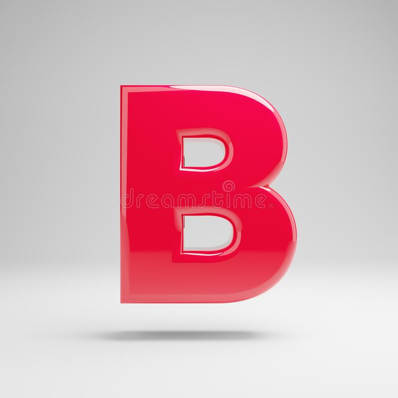 Glossy neon pink uppercase letter B isolated on white background. 3D rendered alphabet. Modern font for banner, poster, cover, logo design template element royalty free illustration