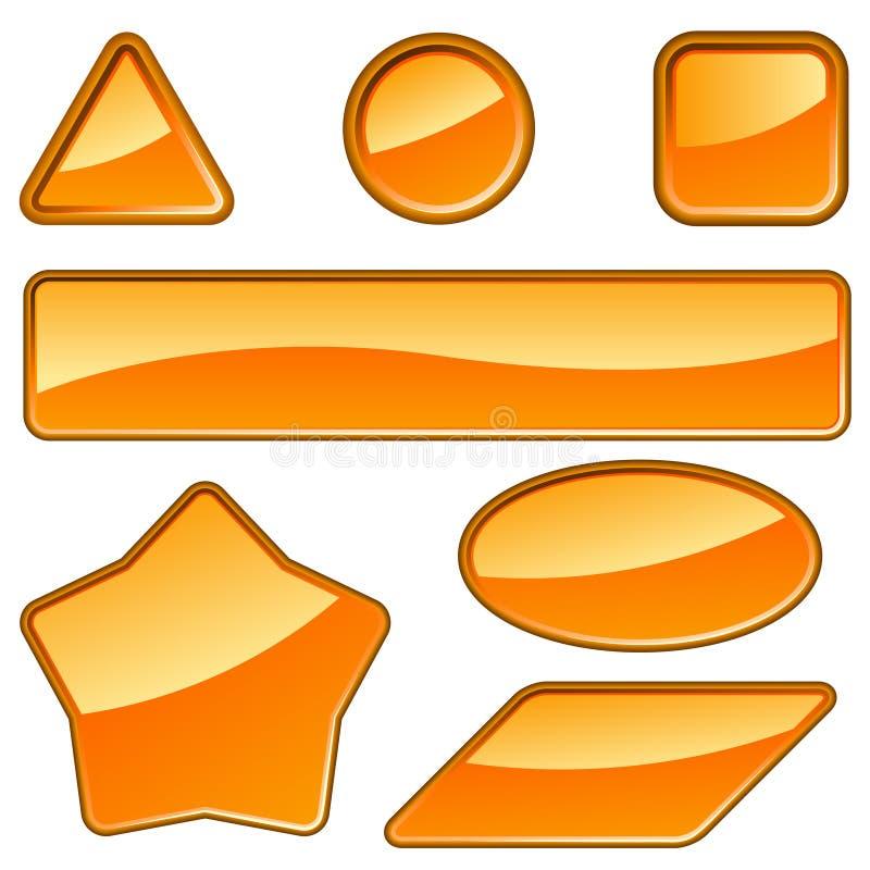 Glossy orange labels royalty free illustration