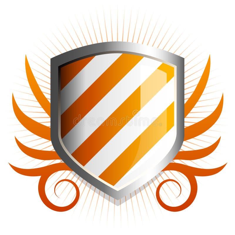 Glossy Orange Shield Emblem Royalty Free Stock Photos