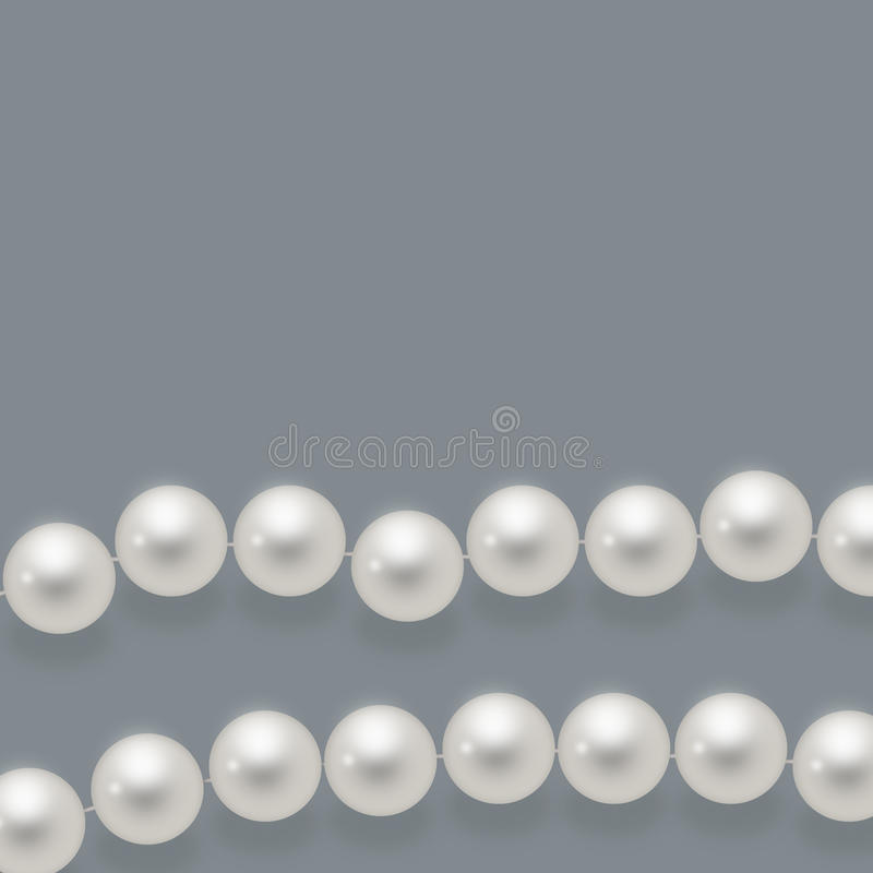 Glossy pearls. Beautiful,white,glossy pearls isolated on gray background stock illustration