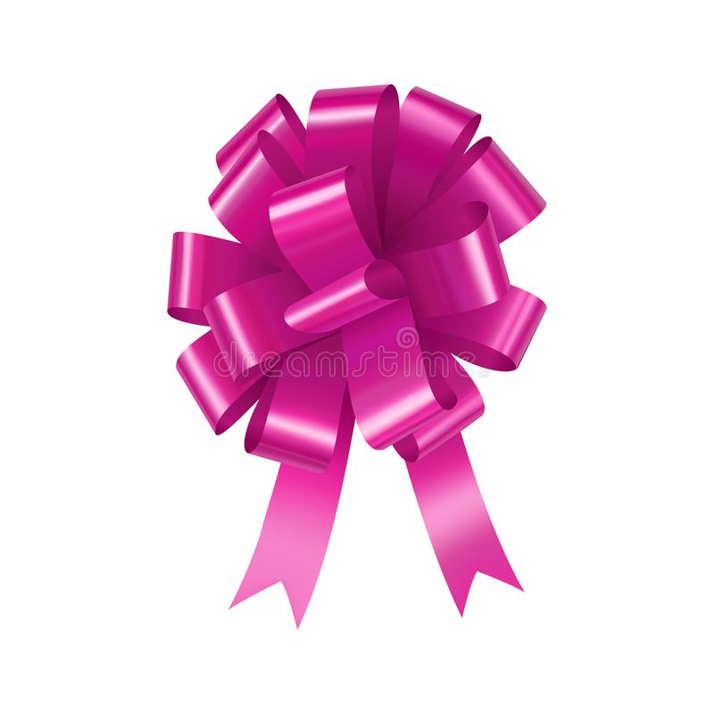Glossy pink bow with ribbon element royalty free illustration