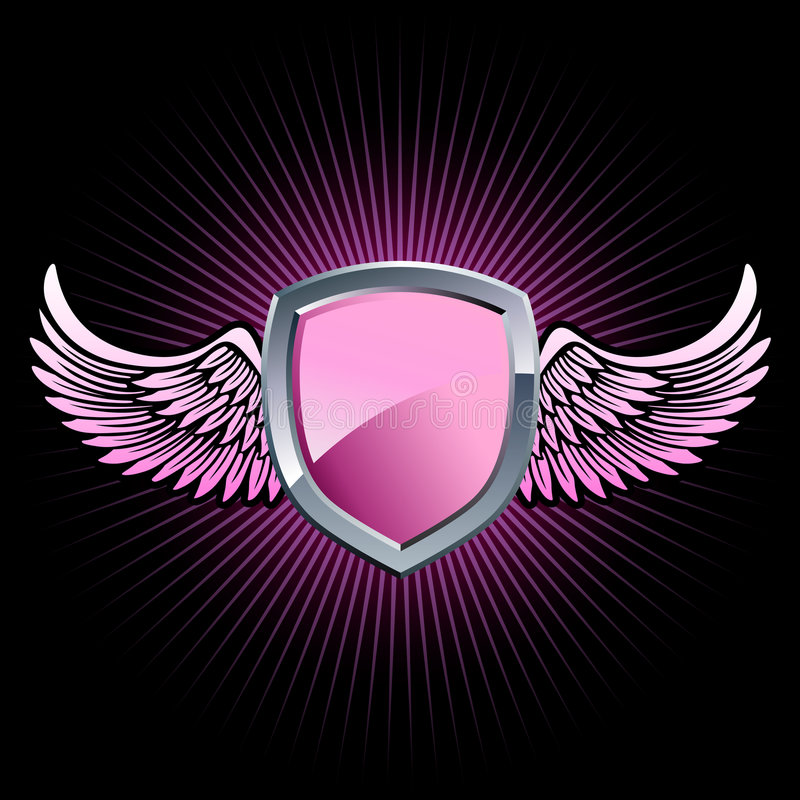 Download Glossy pink shield emblem stock illustration. Image of arms - 8740446