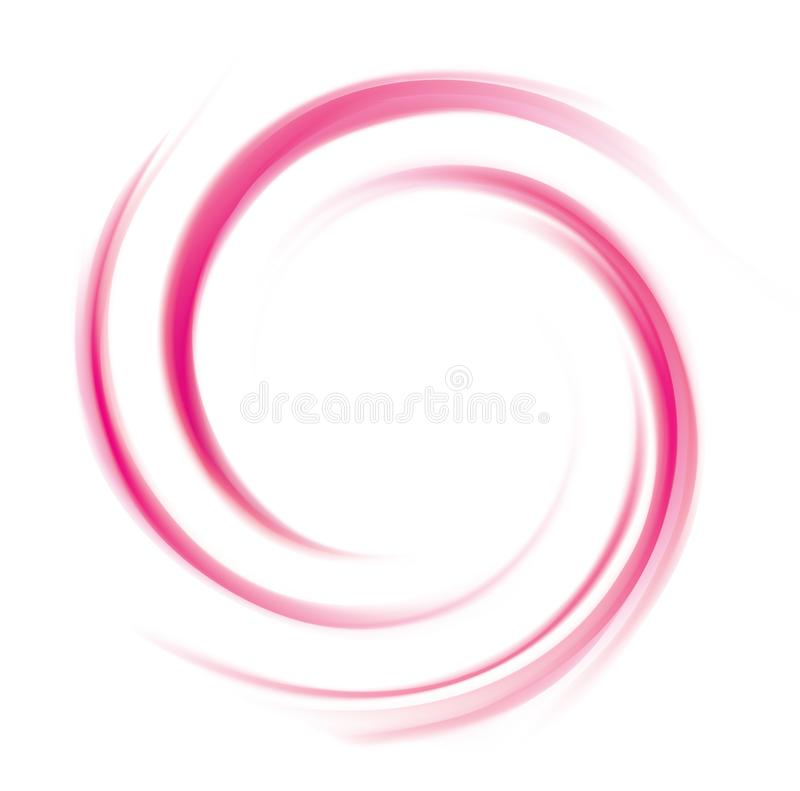 Abstract vector spiral background crimson colour. Glossy radial curvy wine backdrop with glowing center. Twirl permanganic gel fluid pink caramel surface stock illustration