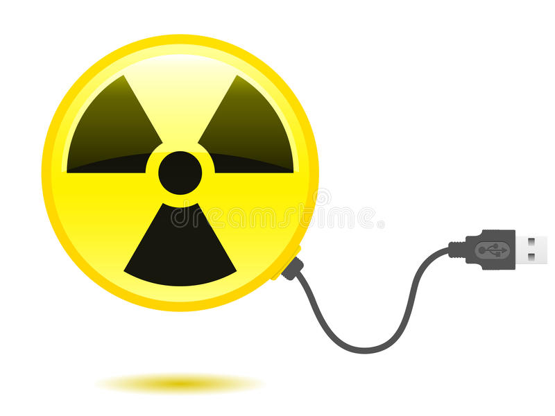 Glossy radioactive icon USB cable royalty free illustration