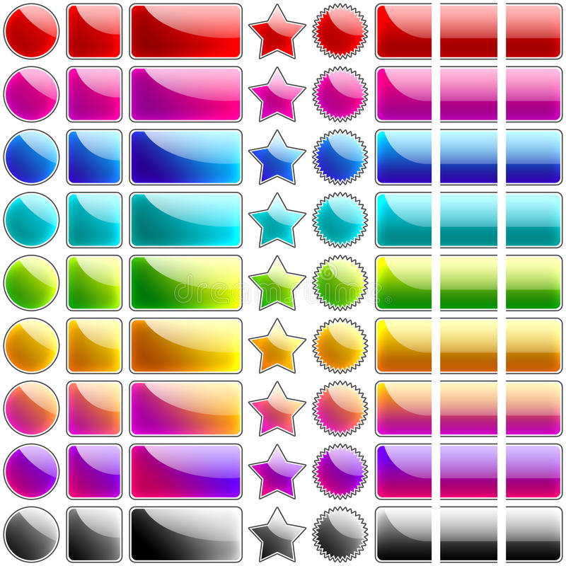 Glossy rainbow buttons royalty free illustration