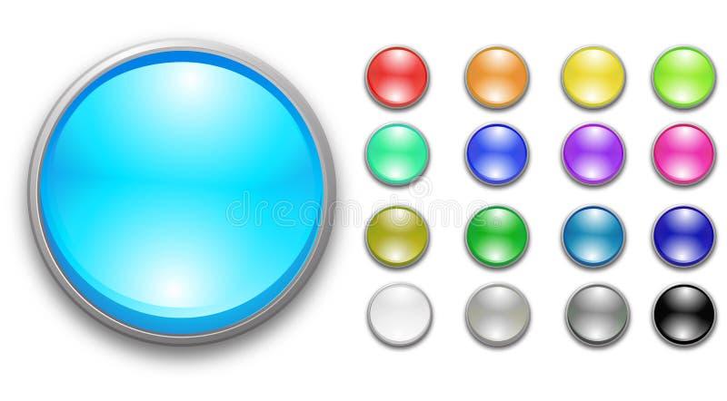 Glossy rainbow buttons stock illustration