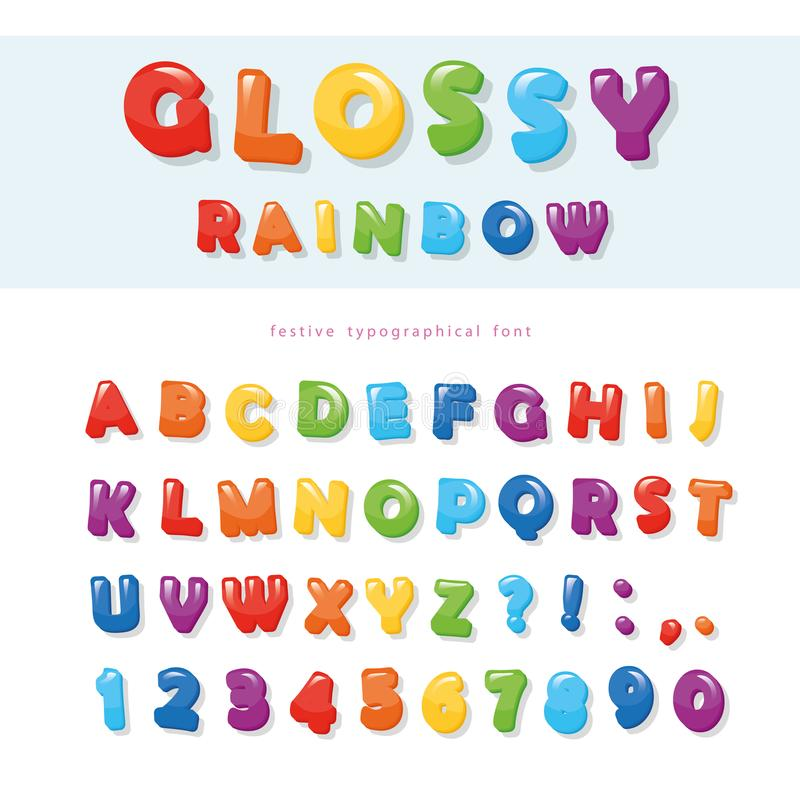 Glossy rainbow colored font design. Festive ABC letters and numbers. royalty free illustration