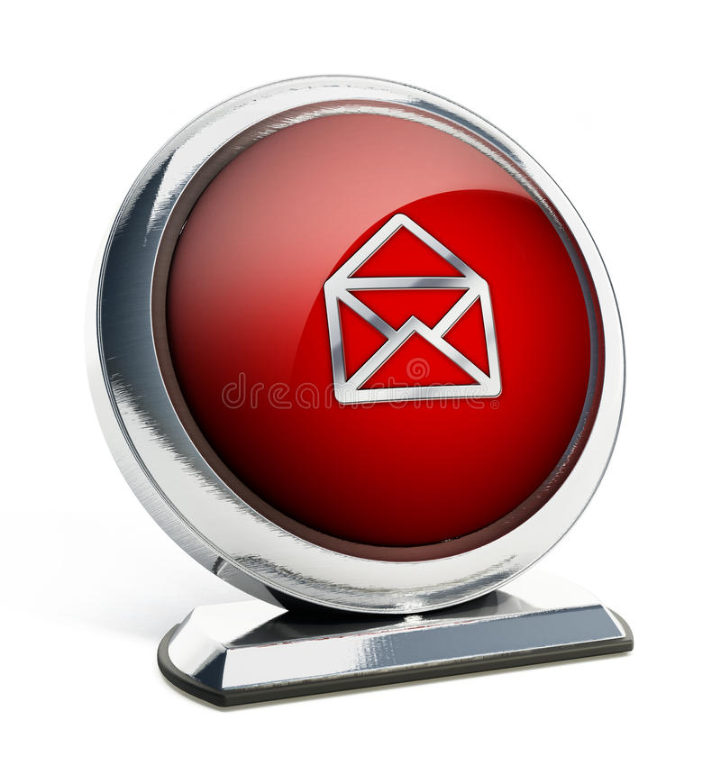 Glossy red button with open enveloppe symbol. 3D illustration stock illustration