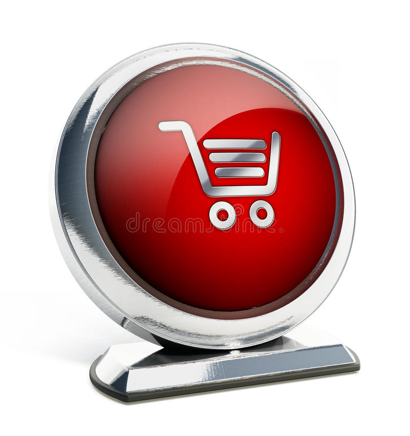 Glossy red button with shopping cart symbol. 3D illustration stock illustration