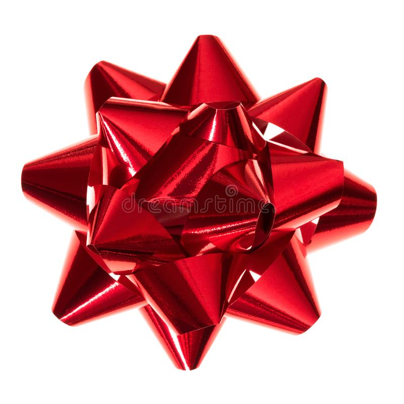 Glossy red gift bow stock photo