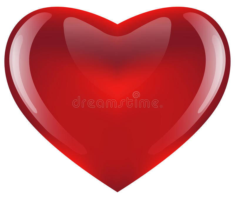 Glossy red heart. Illustration of a glossy red heart isolated on a white background vector illustration