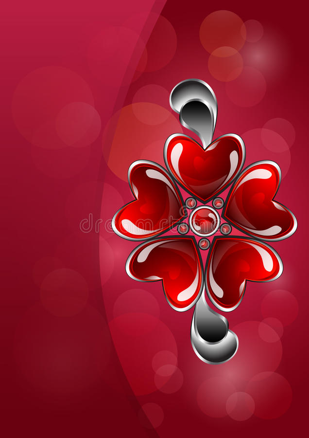 Glossy red heart-shaped bijouterie stock illustration