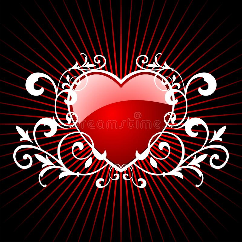 Glossy red hearth. Vector valentin day illustration with lovely hearth on red background royalty free illustration