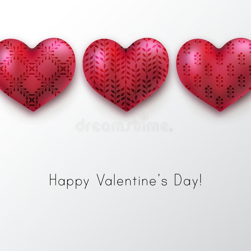 Glossy red hearts with floral ornament. royalty free illustration