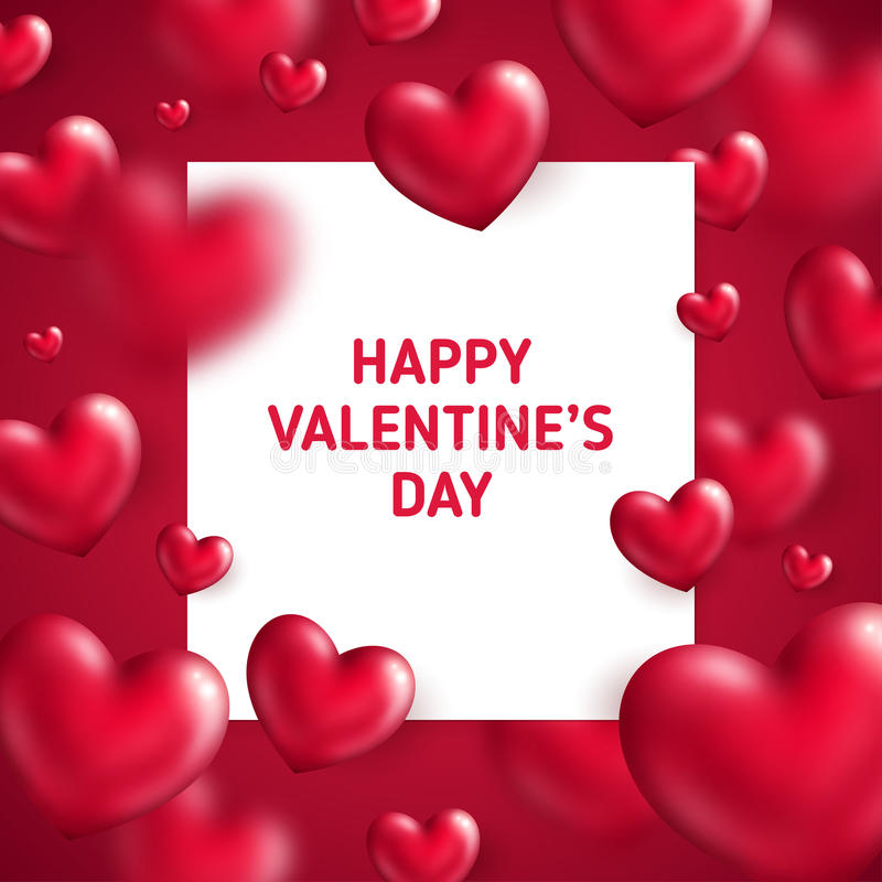 Download Glossy Red Hearts With Square Frame Stock Vector - Image: 83714873