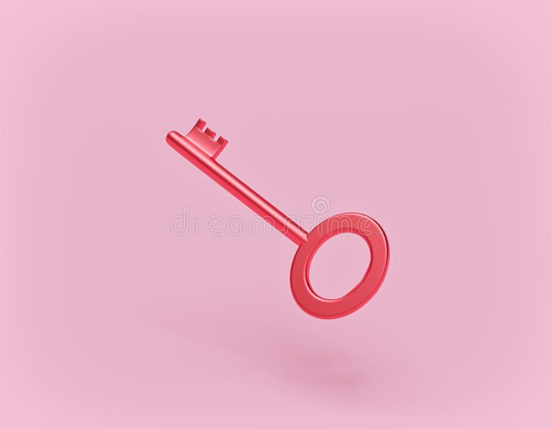 Glossy red key isolated on pastel pink background. 3d rendering. Glossy red key isolated on pastel pink background. simple concept. 3d rendering vector illustration