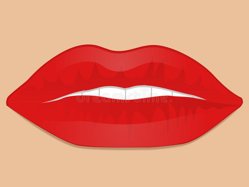 Glossy red lips stock illustration