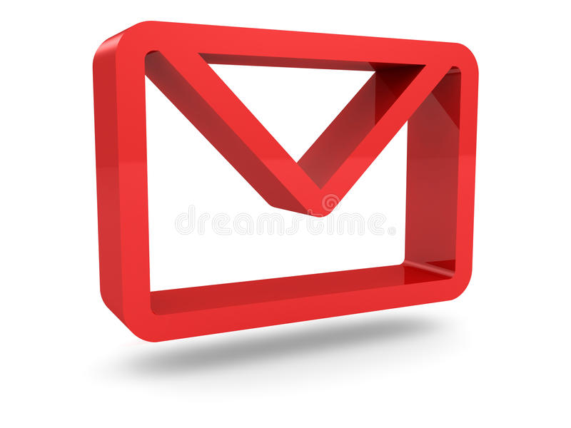 Glossy red mail envelope icon stock illustration