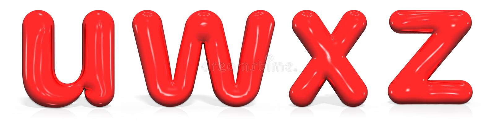 Glossy red paint letter U, W, X, Z lowercase of bubble isolated on white background, 3d rendering illustration stock illustration