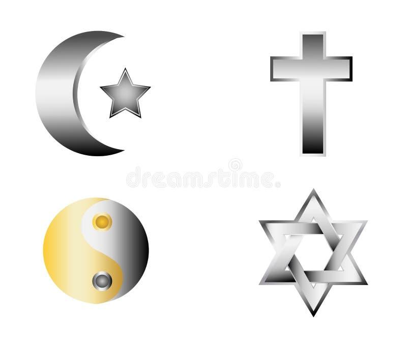 Glossy religion icons vector. Illustration stock illustration