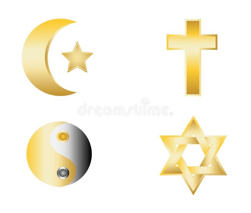 Glossy religion icons vector. Illustration royalty free illustration