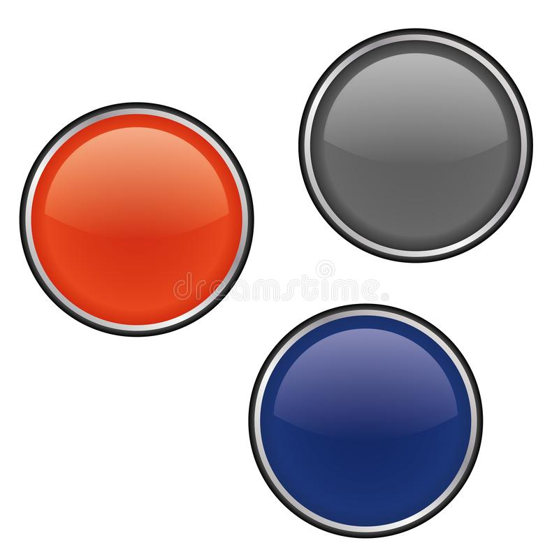 Glossy round Buttons red blue grey. Metal round buttons icon vector eps10. Vector glossy buttons royalty free illustration