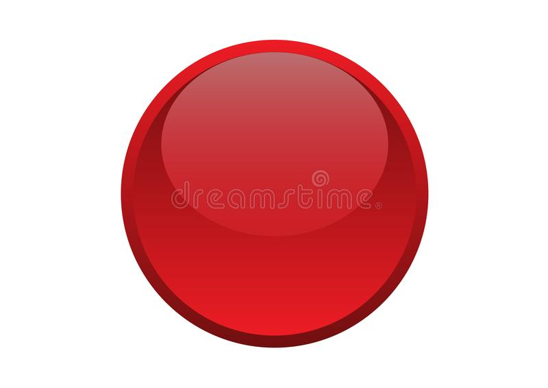 Glossy Round Circle Red Button stock images
