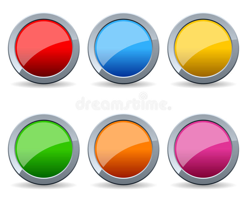 Glossy Round Metal Buttons Set. Collection of six colorful glossy round metal buttons, isolated on white background. Eps file available stock illustration