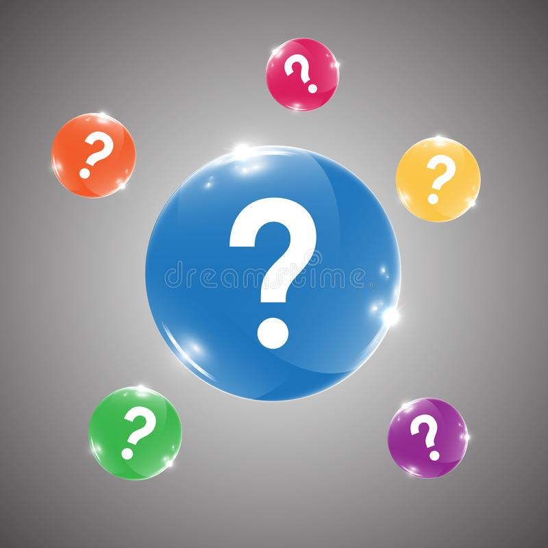 Glossy Rounded Buttons with Question Mark stock illustration