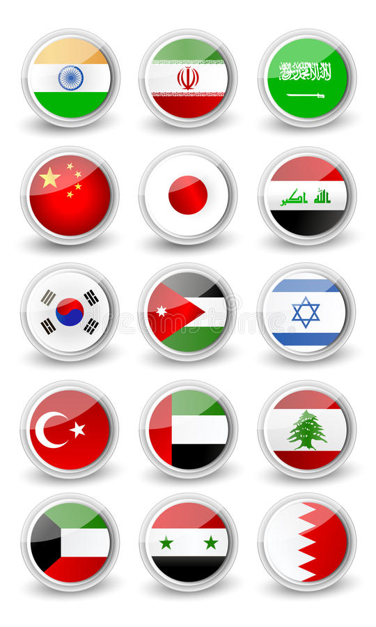 Glossy rounded flag set of Asia stock illustration