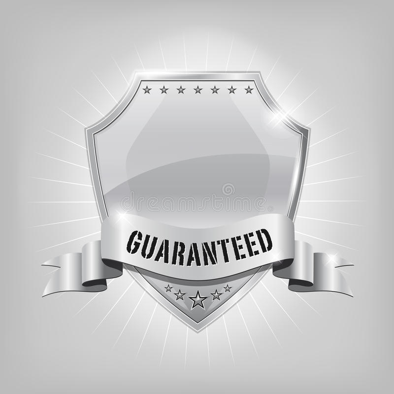 Glossy security silver shield - GUARANTEED royalty free illustration