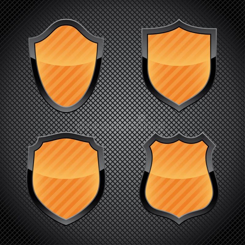 Glossy shield emblems stock illustration