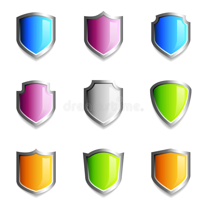 Free Glossy Shield Icons Royalty Free Stock Images - 5985819