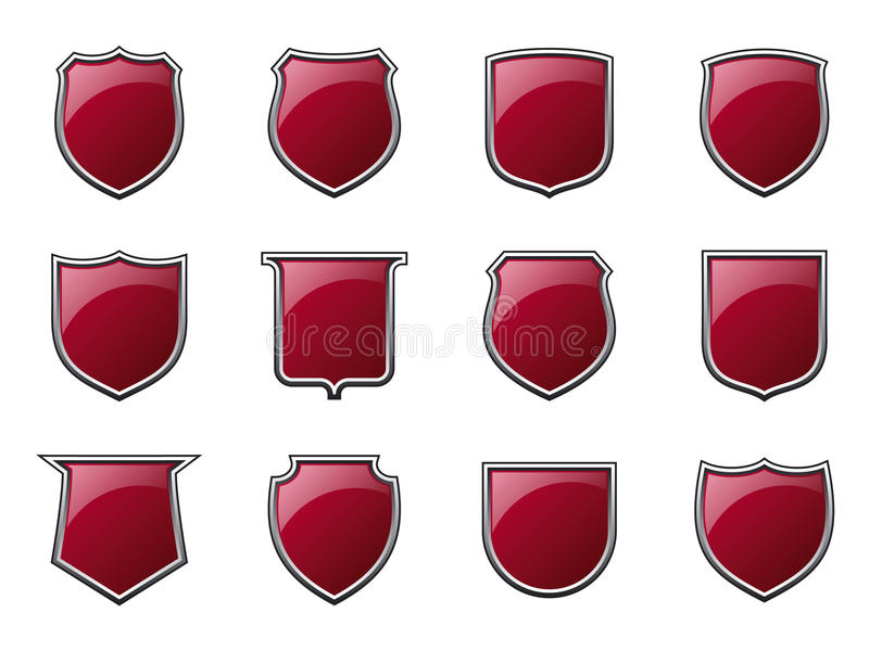 Glossy Shields Royalty Free Stock Photos