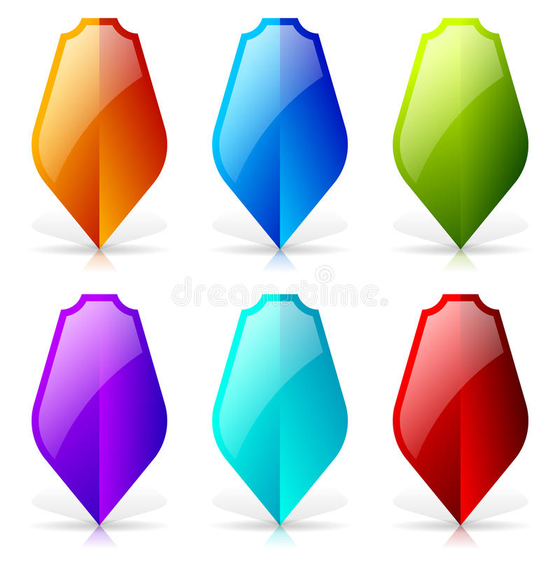Glossy shields with reflection and shadow - Blank shield icon-sh royalty free illustration